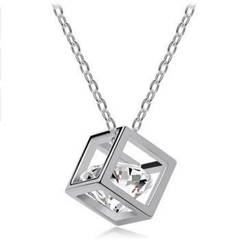 Schönes Geschenk Kostenloser Versand Geschenkbeutel Promotion Qualität Kristall heiß beliebt echte Zricon Würfel Anhänger Halskette Mode Schmuck Mädchen