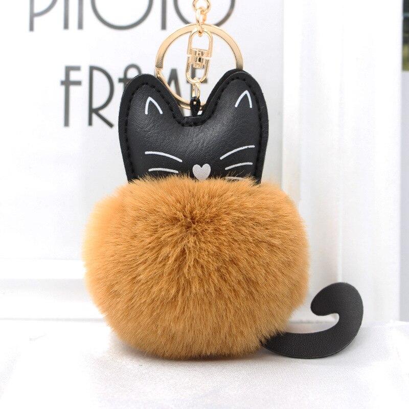 Cat Leather Rabbit Fur Ball Keyring Car Keychain Kitten Handbag Pendant Ornament
