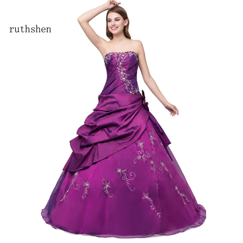 ruthshen Cheap Quinceanera Dresses Purple Royal Blue 2018 Embroidery Long Sweet 16 Masquerade Debutante Prom Ball