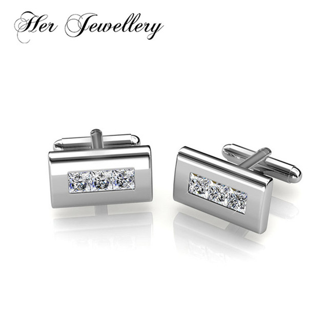 4055a7d9037d Her Jewellery Rectangle classic Cufflinks for men Made with crystals from  Swarovski HL0011