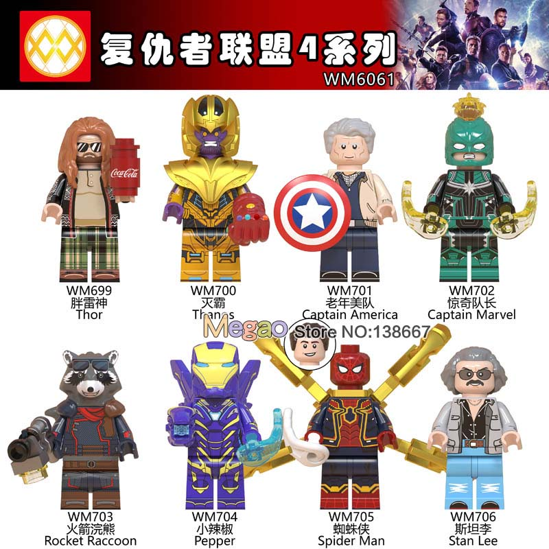 Single Legoings Marvel Super Heroes Spiderman Clown Harley Quinn Hawkeye Captain America Building Blocks Toys For Children Pure White And Translucent Blocks Toys & Hobbies