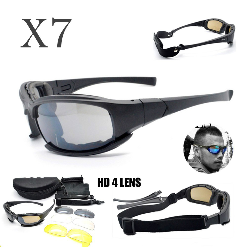Sport Polarized Tactical X7 C5 C6 Glasses Military Goggles Army Sunglasses 4 Lens Men Shooting Eyewear Hiking Camping Glasses