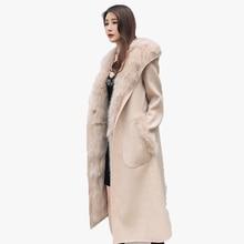 Куртка осень-зима женская одежда 2018 натуральный мех пальто шерстяная куртка Fox Меховая подкладка с капюшоном в Корейском стиле Slim Fit Двусторонняя одежда ZT606