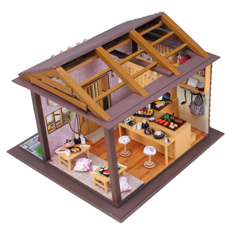 DIY Doll House With Furniture Miniature Wooden Sakura Sushi Doll Restaurant Dollhouse Handmade Toys Gift For Kids 13827 #E