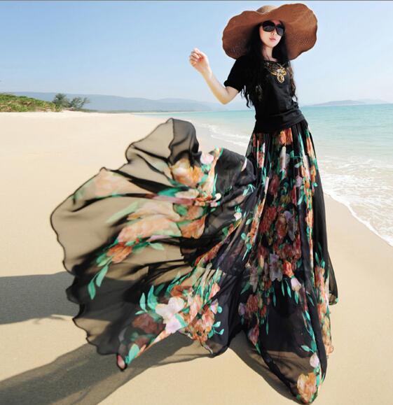 Viaje Fairy Big Verano Impresión 3 Calidad Alta Marca 2018 Cintura De Plisada 4 Gasa Falda Floral 1 Maxi Swing Faldas 2 Largo Mujeres qwrwdxnEX