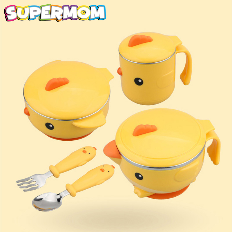 5 pcs Baby Feeding Tableware Food Warm Dish Bowl Set Stainless Steel Anti-Slip Children Kid Plate Set With Spoon Fork Sucker