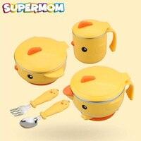 5 pcs Baby Feeding Tableware Food Warm Dish Bowl Set Stainless Steel Anti Slip Children Kid Plate Set With Spoon Fork Sucker