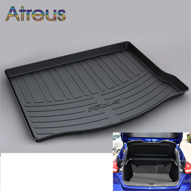 Atreus Car Rear Trunk Floor Mat Durable Carpet For Ford Focus Mk3 Hatchback Hatch 2012-2018 Boot Liner Tray Waterproof mat trunk mat for ford mondeo 2008 2014 durable waterproof luggage mats tray for dogs