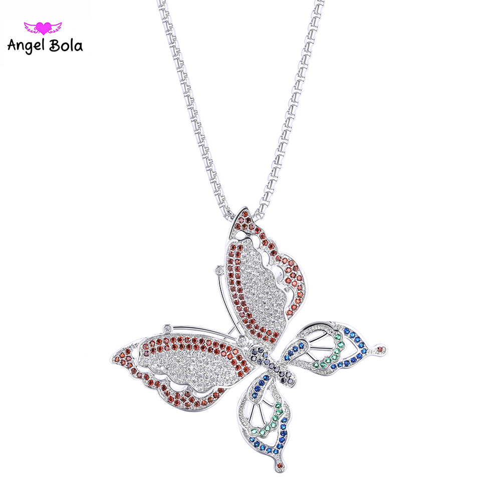 Luxury Iced Out Jewelry AAA Zircon CZ Covered Wedding Necklace Women Colorful Butterfly Necklaces&Pendants PK-004 Free Shipping