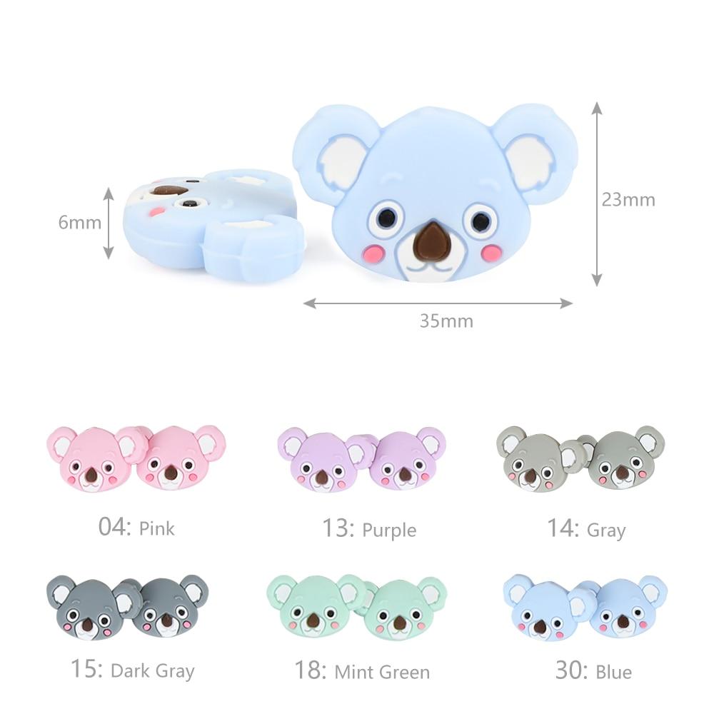 Image 4 - TYRY.HU 50pc Mini Koala Chewable Beads Food Grade Cartoon Silicone Beads Baby Teether Teething Toy DIY Pacifier Clip AccessoriesBaby Teethers   -