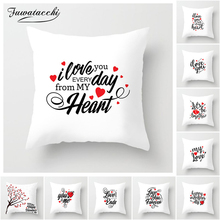 Fuwatacchi Hot Sale Love Letter Couples Cushion Cover Sweet Lovers Square Sofa Pillowcase Home/Hotel Decor Waist Pillow Covers