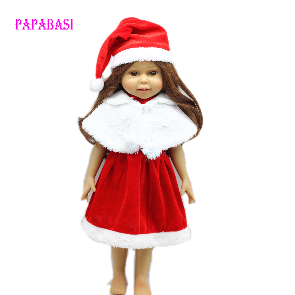 Christmas Costume dress for 18 45cm American girl doll Santa dress with hat for Alexander doll dress [mmmaww] christmas costume clothes for 18 45cm american girl doll santa sets with hat for alexander doll baby girl gift toy