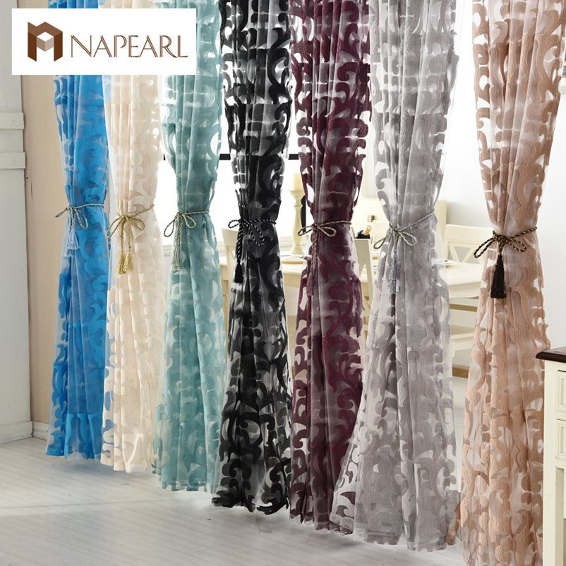 NAPEARL 1 Piece Luxury European Style Tulle Curtains Organza Jacquard Fabrics For Window Treatments Green Black Curtains Balcony