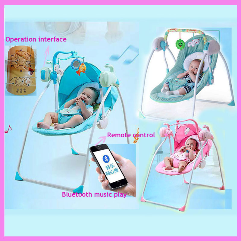 RC Bluetooth Newborn Baby Swing Bed Electric Rocker Chair Infant Baby Rocking Chair Crib Bouncer Baby Swing Chair Lounge Cradle baby rocker stroller newborn baby rocking hose swing chair cradle portable baby bouncer toddler sleeping lounge seat recliner