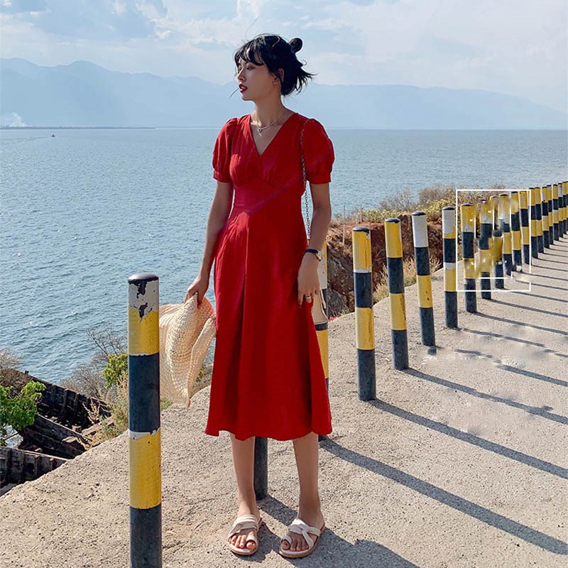 Fashion 2019 Summer Women Casual Puff Sleeve Maxi Dress Solid V Neck Beach Dress Cotton Linen High Waist Holiday Dress in Dresses from Women 39 s Clothing