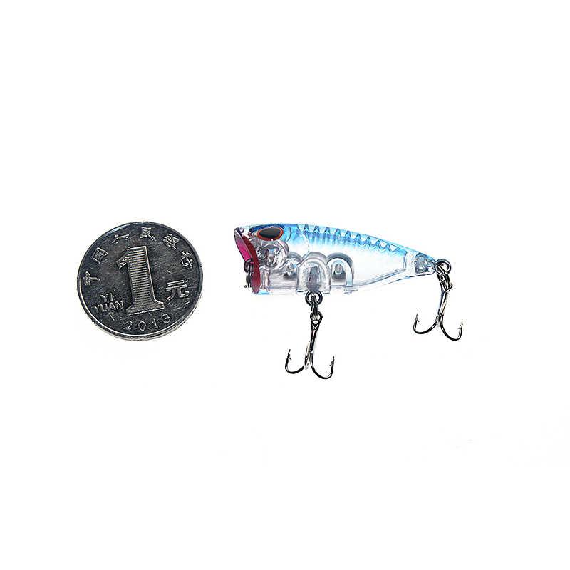 1PCS 3D Occhi Lifelike Fishing Lure 3 centimetri 4g 12 # Ganci di Pesca di Pesce Popper Esche Wobbler Isca dura Esche artificiali Swimbait