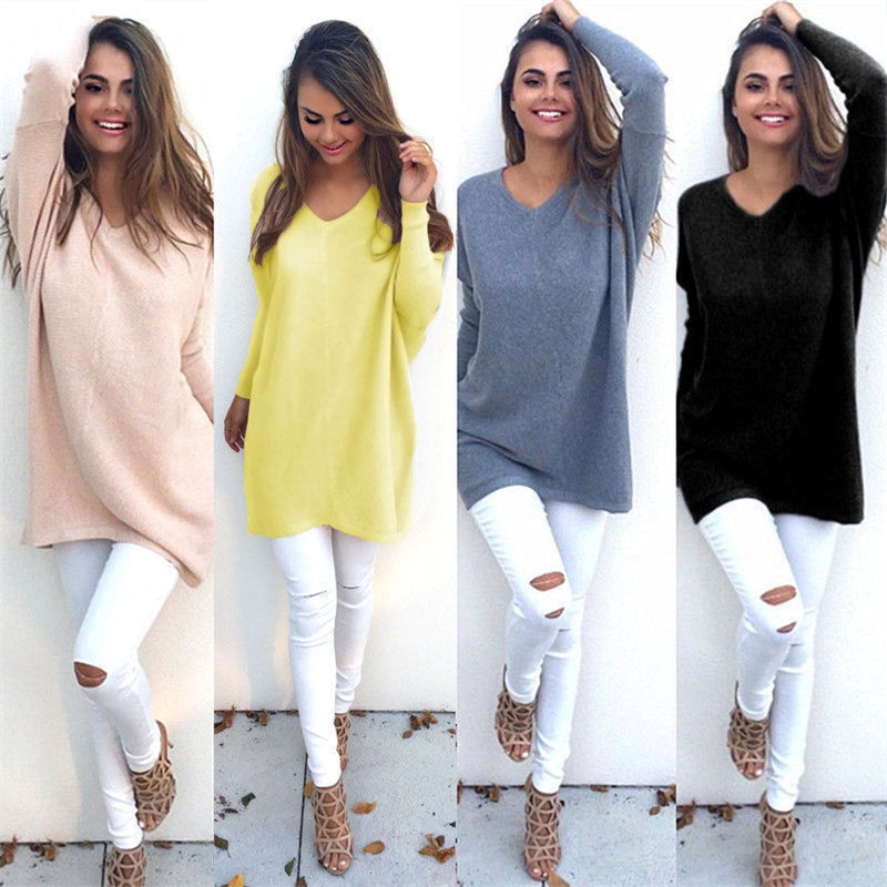 Clearance Long Sleeve Tops Women harajuku V Neck Loose Casual T Shirt Sweatshirt Solid Outwear Tees Ladies T-shirt