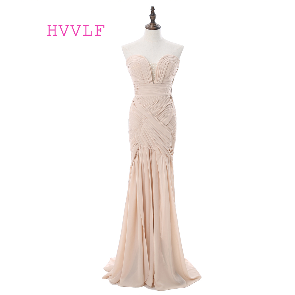 Champagne 2019   Prom     Dresses   Mermaid Sweetheart Chiffon Beaded Backless Women Long   Prom   Gown Evening   Dresses   Robe De Soiree