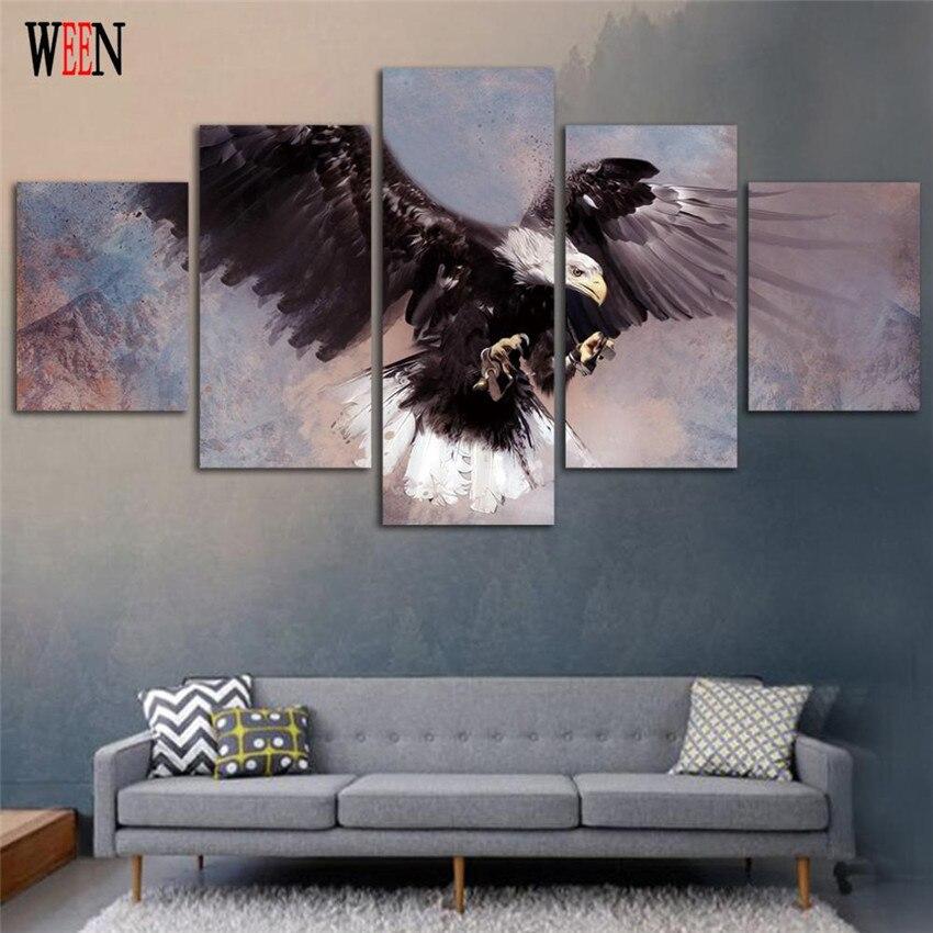 Gerahmte 5 Stücke Adler Fliegen Leinwand Kunst Wandbilder Für ...