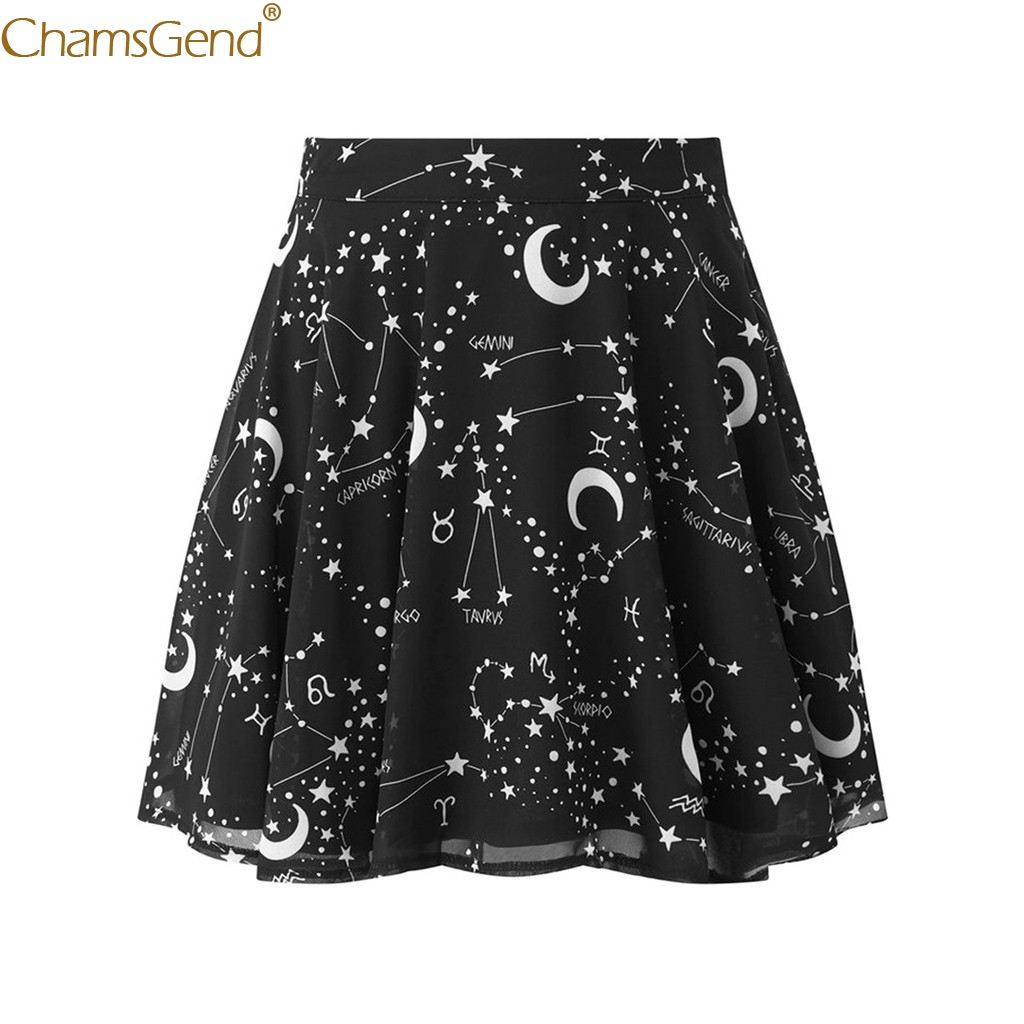 Gothic Punk Black Pleated Skirts Women Printed Skirts Womens  Starry Sky Moon Print A-Line Short Mini Skirt Mini Skirt May