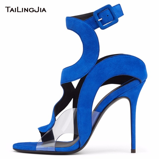 Blue Patchwork  Brand Open Toe High Heel Woman Snadals Red Patent Leather Pvc Ladies Summer Shoes Party Dress Handmade Plus Size