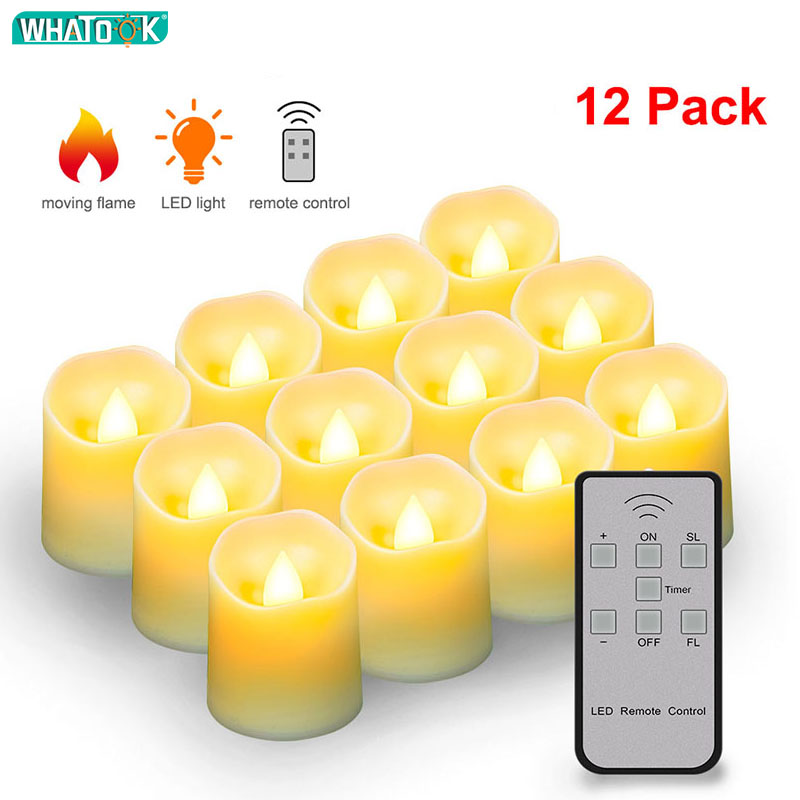 Battery LED Flameless Candles Remote Control Electric Tea Lights Fake Velas Warm White Flame Votive Timer Tealight Home Decor