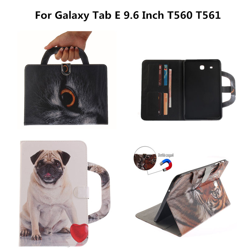 Tab E 9.6'' SM-T560 SM-T561 Tablet Portable Case For Samsung Galaxy Tab E 9.6 inch T560 T561 Folding PU Leather Wallet Cover yh printed flip stand skull cute owi leopard pu leather cover case for samsung galaxy tab e 9 6 inch tablet t560 t561 sm t560