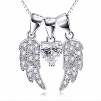 GND0880 100 Real Pure 925 Sterling Silver Pendant Sweet Crystal Cubic Zirconia Angel Wings Necklaces Pendants