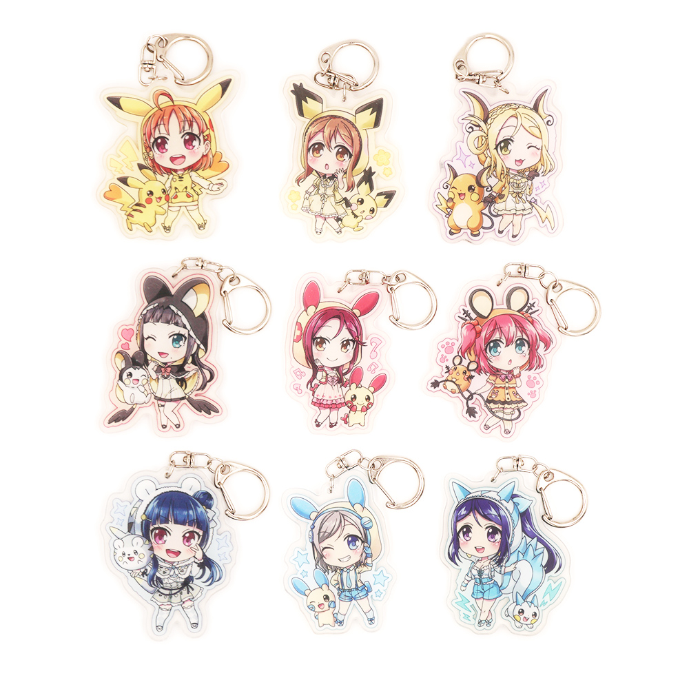 Lovelive Love Live Sunshine Aqours Anime Chika Dia Riko You Yoshiko Mari Ruby Kunikida Kanan Poket Monster Acrylic Keychain