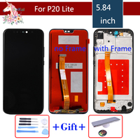 Original 5.842280x1080 IPS LCD For HUAWEI P20 Lite Display Touch Screen Replacement with Frame LCD P20 Lite ane lx3 nova 3e
