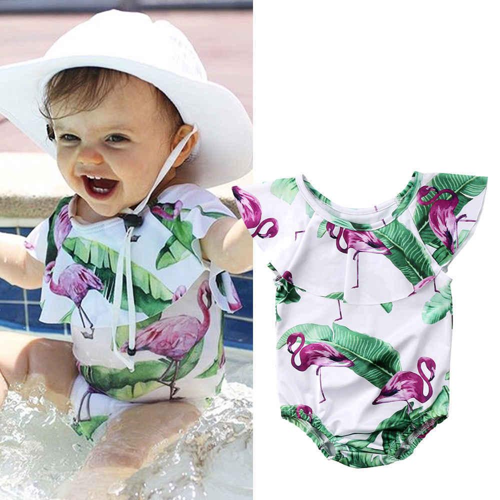 2018 nowy maluch dzieci dziewczyny Flamingo strój kąpielowy bez rękawów peleryna kołnierz pływanie Romper kombinezon strój kąpielowy odzież plażowa