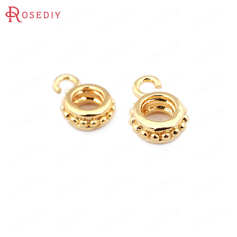 (33605)10PCS 11.5*8MM 24K Gold Color Brass Large Hole Charms Pendants Connector High Quality Diy Jewelry Findings Accessories