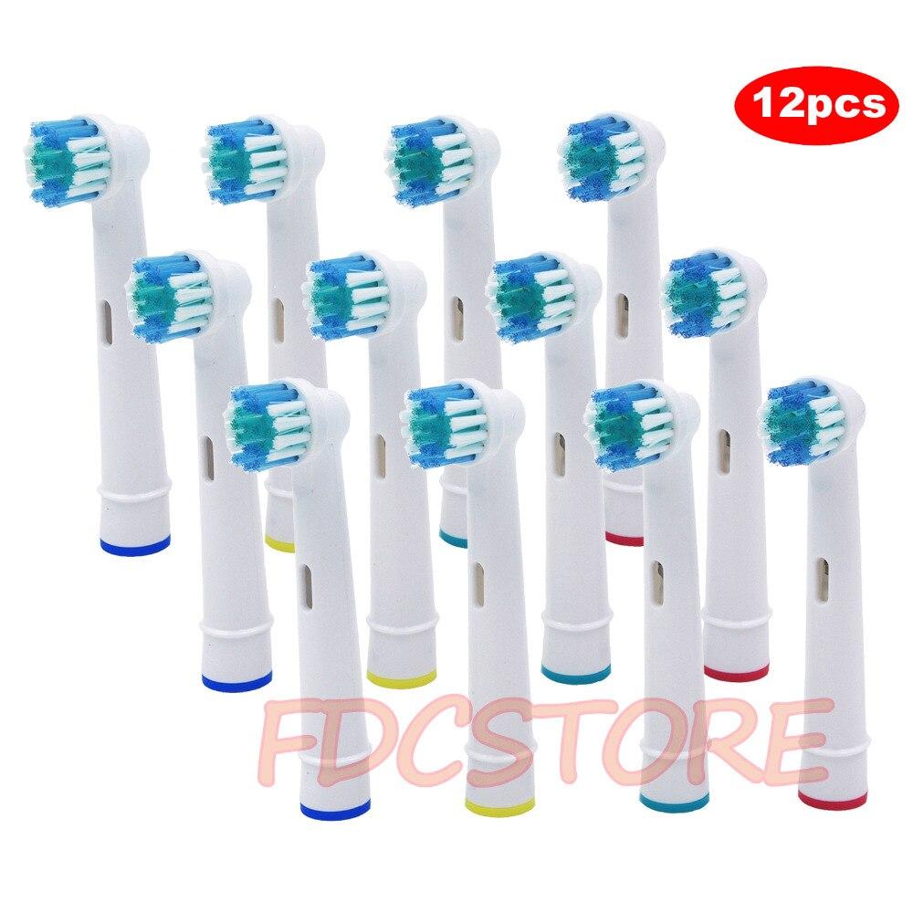 12 cabeças de escova do × para a escova de dentes elétrica de oral-b cabem braun oral b 1000 crossaction, 7500 power, smart 1500, goma e cuidados sensíveis