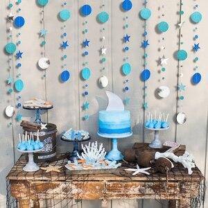 Image 4 - 4メートルミラー紙スターラウンドゴールド花輪フラッシュバナ誕生日結婚式のパーティーの好意ベビーシャワーカーテン装飾用品