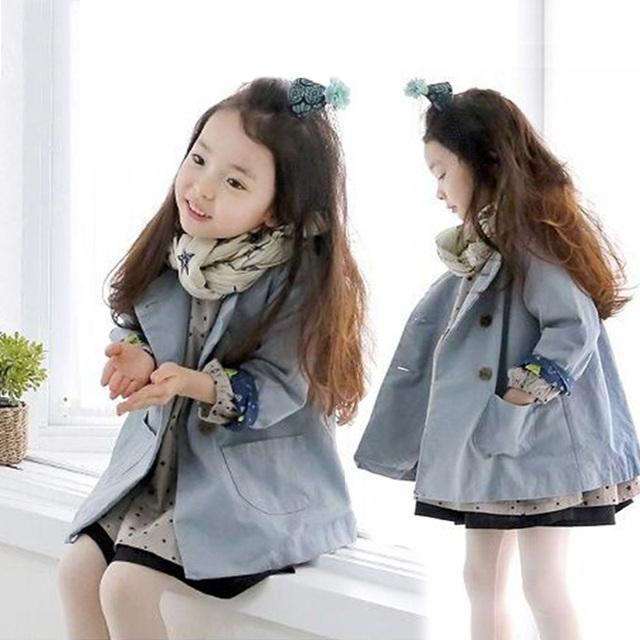 2016 bebés del otoño del resorte de doble botonadura niños ropa niños de manga larga gabardina informal abrigo prendas de vestir exteriores