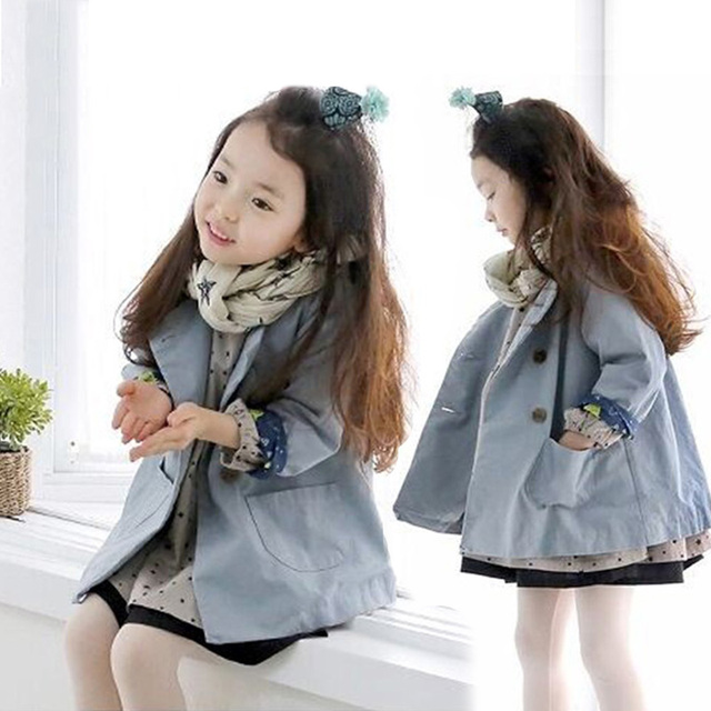 2016 spring autumn baby girls clothes double breasted children's clothing kids long-sleeve casual trench outerwear overcoat