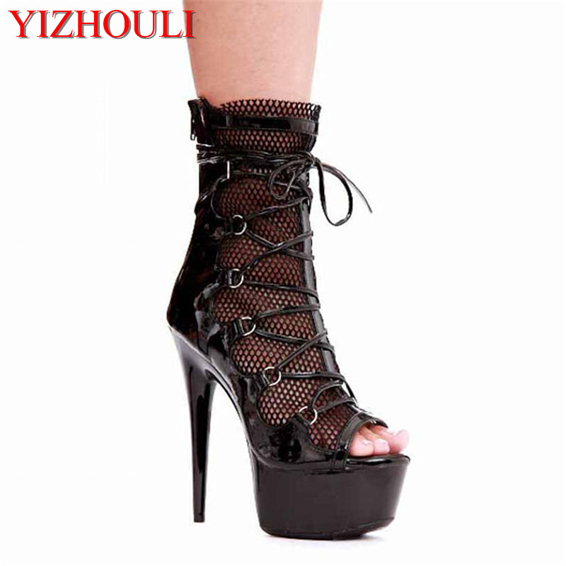 15 cm high heel boots sexy cross bands black mesh booties paint club fashionable ankle boots
