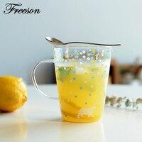 Japanese Kawaii Fox Whale Polar Bear Stars Mug Cute Heat Resistant Glass Tea Coffee Mug Zakka