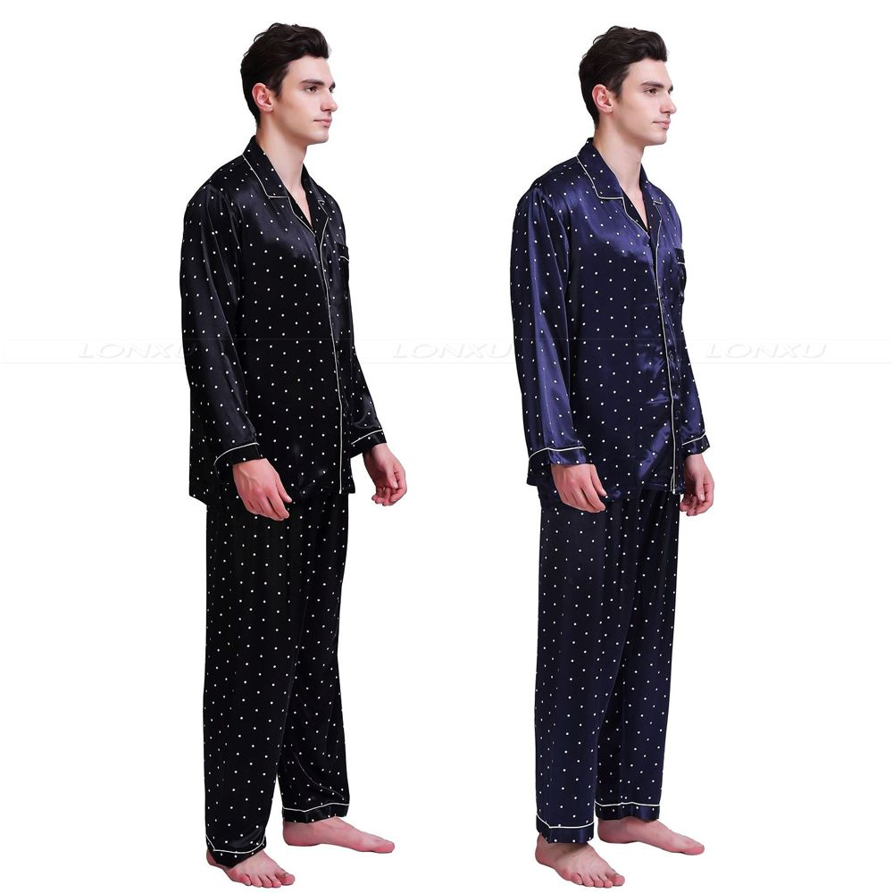 Mens Silk Satin Pajamas Set   Pyjamas  Set   PJS  Sleepwear Set   Loungewear U.S,S,M,L,XL,XXL,4XL Plus