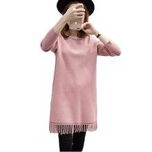 Новый Для женщин вязаное платье Scoop Средства ухода за кожей Шеи Повседневное прямые Платья для вечеринок с кисточкой с длинным рукавом Ладис Boho богемное платье vestidos xh635