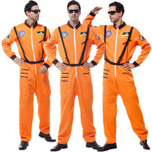 Christmas Carnival Halloween Air Force Astronaut Costume for Adult Man Masquerade Party Fancy Dress Orange Pilot Cosplay Clothes(China)