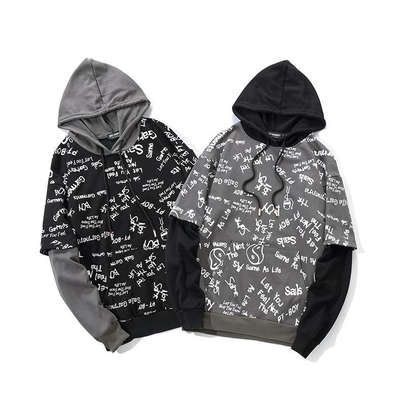 2019 printemps Hip Hop Graffiti sweat à capuche Streetwear hommes noir à capuche pull coton Skateboard Harajuku à capuche Streetwear