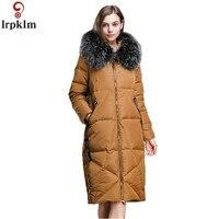 Для женщин Зимняя куртка пуховик Пуховики на белом утином пуху длинное зимнее пальто Для женщин 2018 свободные толстые теплые элегантные пух
