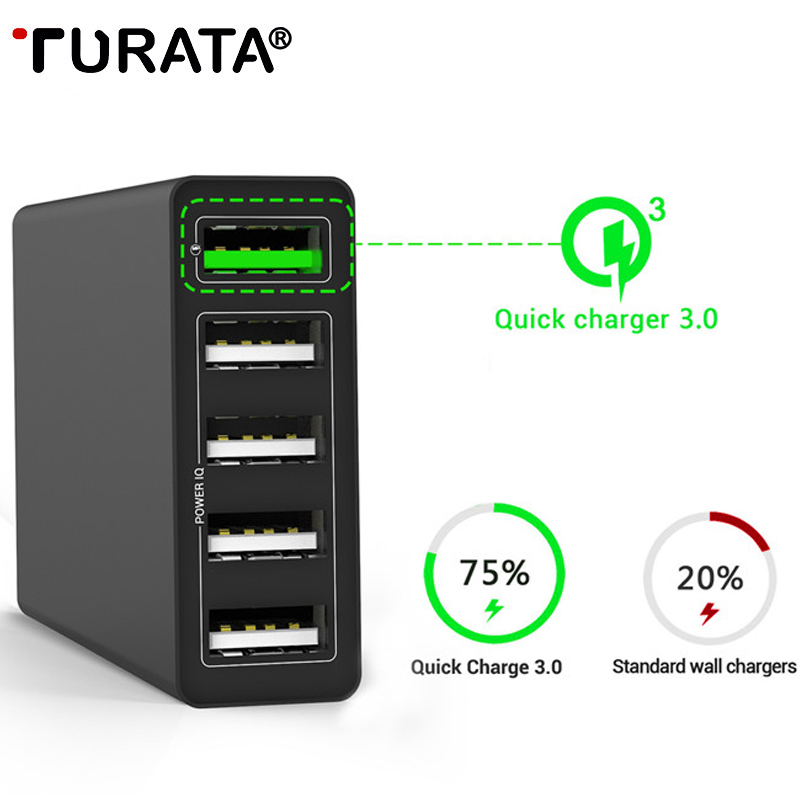 TURATA 50W USB Charger Quick Charge 3.0 Fast Mobile Phone Charger for iPhone Samsung Xiaomi Nexus Tablet 5 Port Desktop Charger