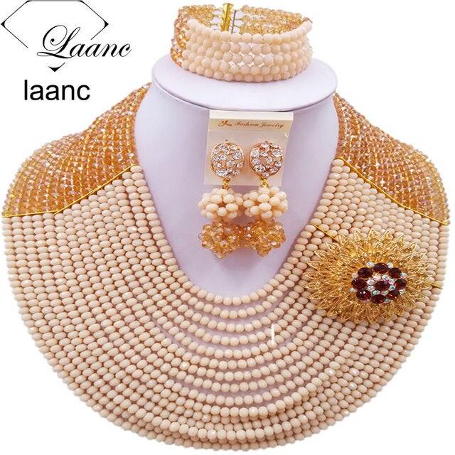 Colorido Ouro AB Bege Beads Africanos Set Jóias Para O Casamento Nigeriano  C16C013 Indiano Conjuntos De