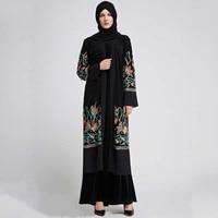 Casual Muslim Abaya Embroidery Mesh Dress Cardigan Islamic Thobe Clothing Middle East Long Robe Gowns Kimono Jubah Loose New