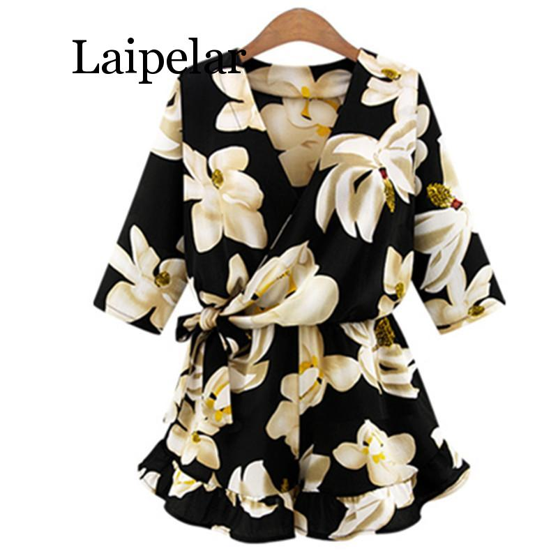 Laipelar New Large Size Women's Chiffon Print V Neck Middle Sleeve   Jumpsuit   Fashion Trousers Skirt Loose Shorts Rompers Women Ju