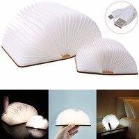 LED Foldable Wooden Book Shape Desk Lamp Nightlight Booklight USB Rechargeable J19