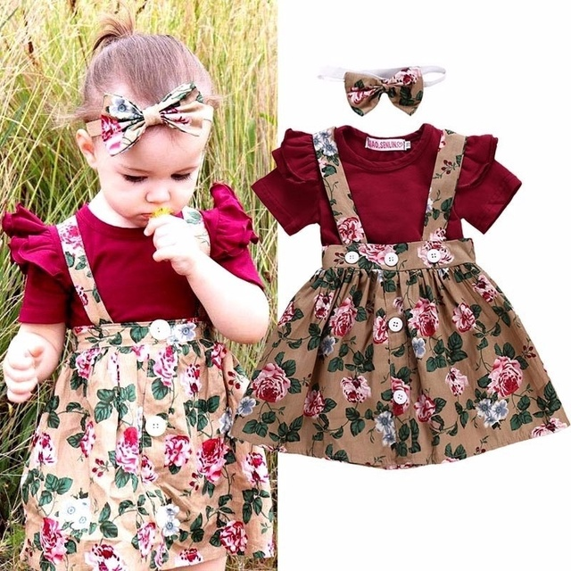 940e1f149 Cotton 3Pcs Infant Toddler Baby Girls Clothes Short Sleeve Rompers Jumpsuit+Strap  Floral Overall Dress with Headband Outfits Set