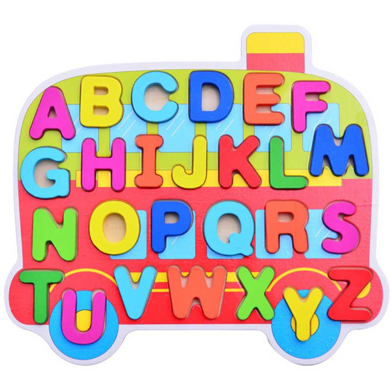 Детские игрушки-головоломки Детский мультфильм ручной захват доска деревянная фанера головоломка для детей Цифровой алфавит познание